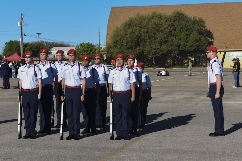 Cooper High School JROTC students participate in the 19th Annual Drill Competition at Angelo State University in San Angelo, Texas, March 25, 2017. The competition was held to see who the best JROTC drill team was. (U.S. Air Force photo by Airman 1st Class Chase Sousa/Released)