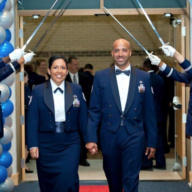 Tech. Sgt. Terrance Williams, 22nd Security Forces Squadron resources NCO in-charge, and his wife, Tech. Sgt. Nichol Williams, now a retired master sergeant, attend the Air Force Gala, February 2012, at McConnell Air Force Base, Kan. After his battle with depression, anxiety, alcoholism and Post Traumatic Stress Disorder and a suicide attempt, Terrance said his wife's support was one of the most important aspects to his recovery. (Courtesy photo)