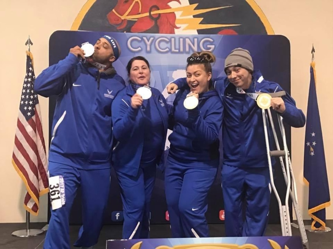 Tech. Sgt. Terrance Williams, 22nd Security Forces Squadron resources NCO in-charge, and his teammates pose for a photo during the Air Force Wounded Warrior Trials, February 2017, at Nellis Air Force Base, Nev. After competing in wheelchair basketball, sitting volleyball, cycling and track, Williams was chosen to advance to the Department of Defense Warrior Games, which will be held June 30-July 9. (Courtesy photo)