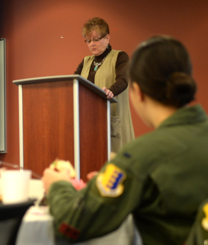Donna Roebuck, a retired U.S. Army master sergeant, speaks during a Women's History Month luncheon inside the Deployment Center at Ellsworth Air Force Base, S.D., March 21, 2017. Each year, Ellsworth hosts a luncheon to reflect and highlight the accomplishments of women, in the past and present, for their contributions to the fight for equality and justice. (U.S. Air Force photo by Airman 1st Class Denise M. Jenson)