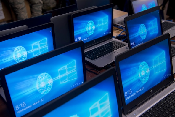 PETERSON AIR FORCE BASE, Colo. – New Windows 10 laptops sit idle while being upgraded with Windows 10 at Peterson Air Force Base, Colo., March 22, 2017. The Windows 10 roll out is part of a Department of Defense wide mandate to update all computers across all services. The 21st CS has been working extra shifts to ensure that mandate is met well ahead of schedule on April 1.  (U.S. Air Force photo by Steve Kotecki)