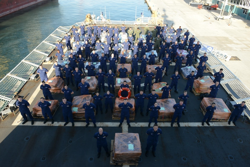 The Coast Guard Cutter James crew and a Helicopter Interdiction Tactical Squadron (HITRON) MH-65 Dolphin helicopter crew offload approximately 16 tons of cocaine Tuesday, March 28, 2017, in Port Everglades, Fla. Nearly 16 tons of cocaine were interdicted iworth an estimated $420 million wholesale seized in international waters off the Eastern Pacific Ocean. U.S. Coast Guard photo by Petty Officer 2nd Class Jonathan Lally