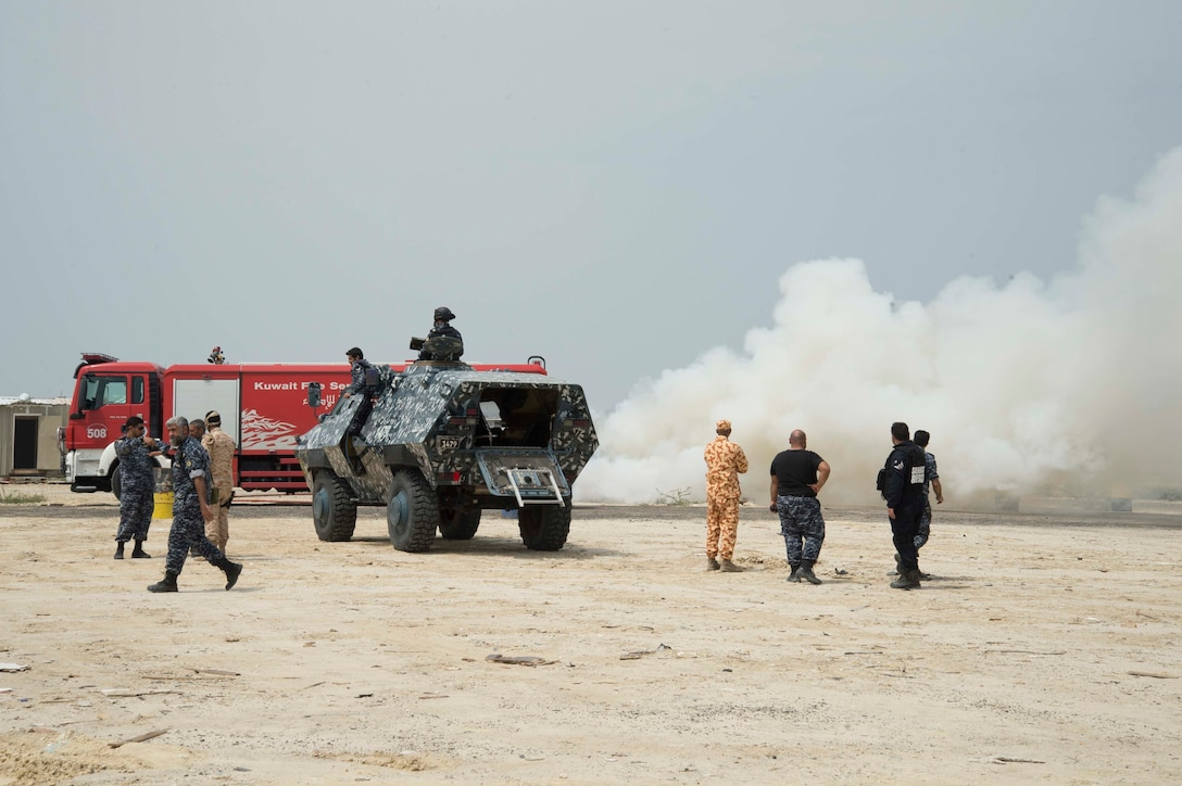 Civilian and military personnel from Kuwait, Qatar, Saudi Arabia and the U.S. conduct counterterrorism drills, search and rescue operations, and respond to a mock vehicle explosion as part of exercise Eagle Resolve , March 28, 2017, in Kuwait. The exercise tests participant's ability to respond as a combined joint task force.  Exercise Eagle Resolve is the premier U.S. multilateral exercise within the Arabian Peninsula. Since 1999, Eagle Resolve has become the leading engagement between the U.S. and Gulf Cooperation Council nations to collectively address the regional challenges associated with asymmetric warfare in a low-risk setting.(U.S. Combat Camera Photo by Mass Communications Specialist 2nd Class David Giorda)