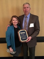 Bob Sneed, retired U.S. Army Corps of Engineers Nashville District Water Management Section chief, poses with his wife Cindy after being named Government Engineer of the Year by the Tennessee Society of Professional Engineers at a banquet Feb. 24, 2017 at the Renaissance Hotel in Nashville, Tenn.