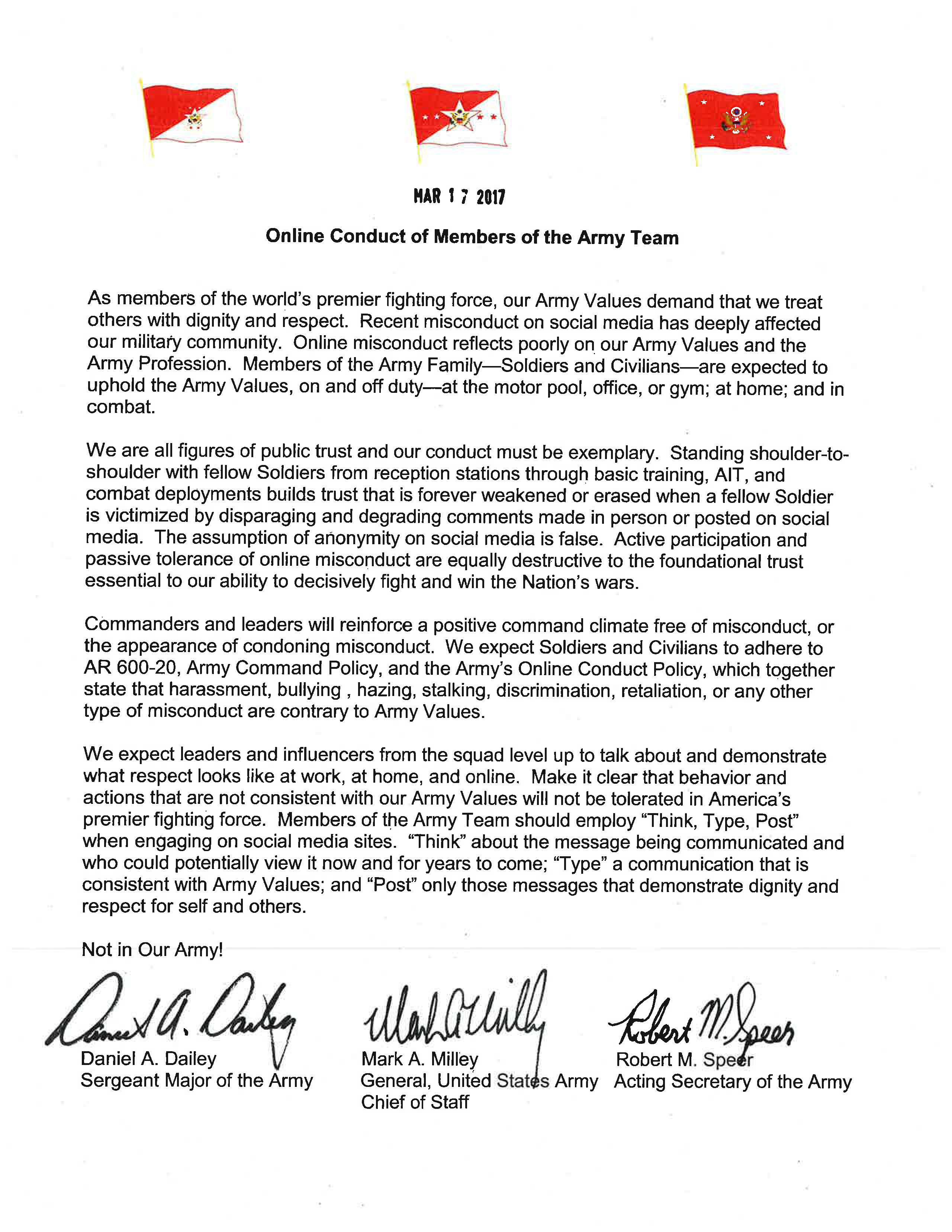 A Message from the Secretary, Chief of Staff, and Sergeant > U.S. ...