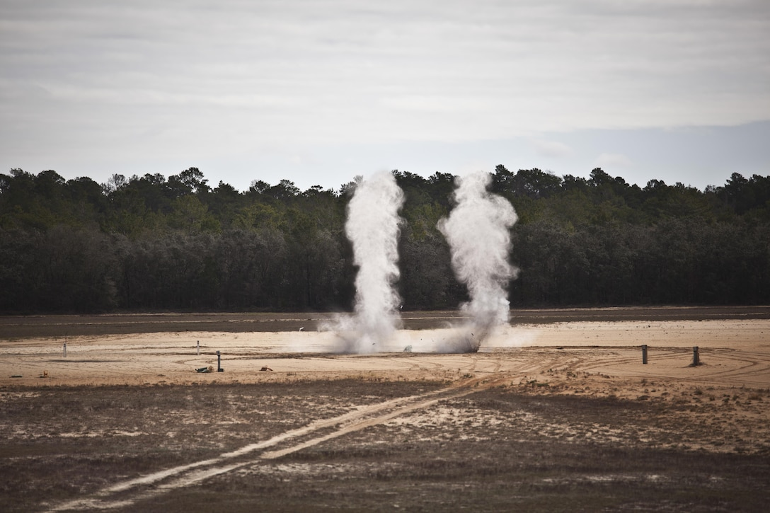 U.S. service members attending Naval School Explosive Ordnance Disposal (NAVSCOLEOD) conduct live fire explosive training at Eglin Air Force Base, Fla., March 8, 2017. The purpose of NAVSCOLEOD is to train technicians in basic, as well as advanced, courses to perform various duties that include locating, identifying, rendering safe, and disposing of bombs and other hazardous materials. (U.S. Marine Corps photo by Cpl. Laura Mercado)