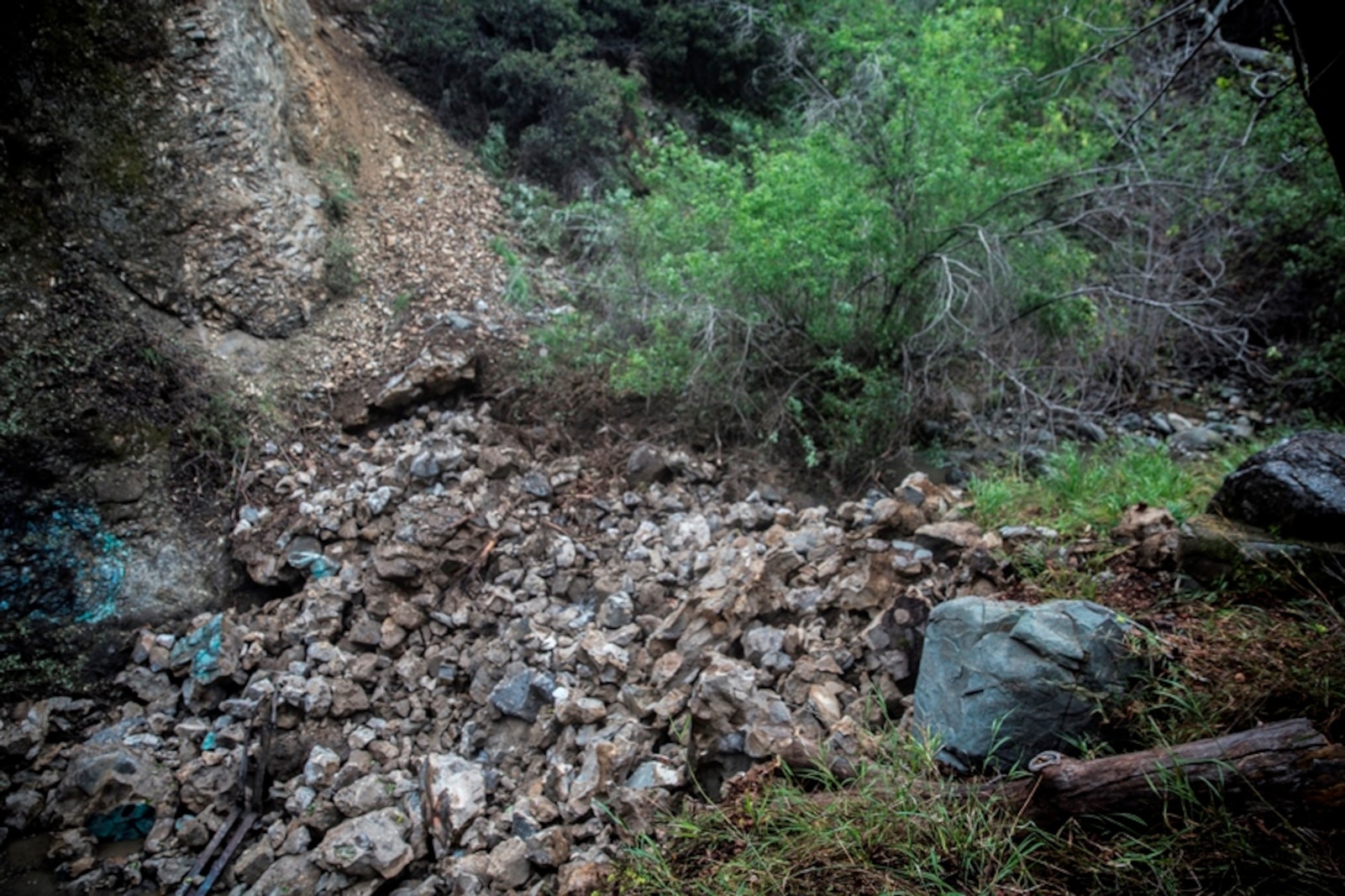 The aftermath of one of the dams that was demolished by U.S. Marines with 7th Engineer Support Battalion, 1st Marine Logistics Group, at Cleveland National Forest in Silverado, Calif., on March 22, 2017. The purpose of demolishing the dams is to remove all material from 10 dams, allow fish to pass unobstructed and return the land to its natural state. (U.S. Marine Corps photo by Lance Cpl. Adam Dublinske)