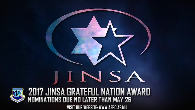 The Air Force is seeking nominations for the 2017 Jewish Institute for National Security Affairs Grateful Nation Award. Nominations are due to the Air Force Personnel Center no later than May 26. (U.S. Air Force graphic by Staff Sgt. Alexx Pons)