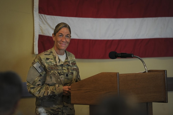 Lt. Col. Allison Black, the commander of the 319th Special Operations Squadron, speaks during the Women's History Month luncheon at Hurlburt Field, Fla., March 23. During the event, Black told the audience of the struggles and successes she's experienced as a woman in the military and encouraged all genders to grow confident in who they are. (U.S. Air Force photo by Airman 1st Class Dennis Spain)