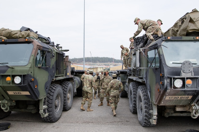Soldiers with Alpha Company, 173rd Brigade Support Battalion prepare their Load Handling System for supply and security runs in the field during Allied Spirit VI, Hohenfels, Germany, March 14, 2017. Allied Spirit VI will include about 2,770 participants from 12 nations. Army photo by Sgt. William Frye