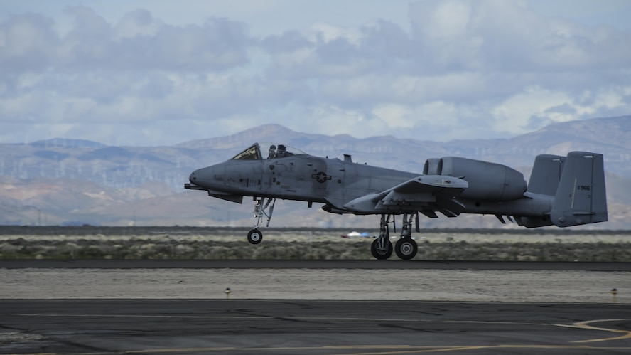 A U.S. Air Force A-10C Thunderbolt II from the A-10 West Heritage Flight Team lands on the flight line at the Los Angeles County Air Show in Lancaster, Calif., March 25, 2017. The A-10 WHFT is scheduled to perform in 9 more air shows throughout the U.S. this year after resurging from a 5-year-long inactivation period. (U.S. Air Force photo by Airman 1st Class Mya M. Crosby)