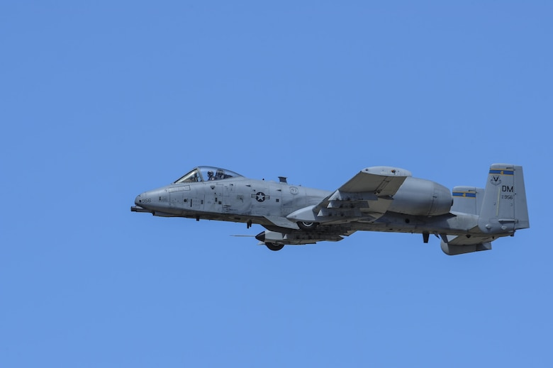 A U.S. Air Force A-10C Thunderbolt II from the A-10 West Heritage Flight Team performs during the Los Angeles County Air Show in Lancaster, Calif., March 26, 2017. The A-10 WHFT is scheduled to perform in 9 more air shows throughout the U.S. this year after resurging from a 5-year-long inactivation period. (U.S. Air Force photo by Airman 1st Class Mya M. Crosby)