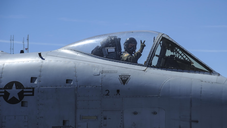 U.S. Air Force Maj. Daniel Levy, A-10 West Heritage Flight Team and 357th Fighter Squadron pilot, prepares to take off during the Los Angeles County Air Show in Lancaster, Calif., March 26, 2017. The A-10 WHFT is scheduled to perform in 9 more air shows throughout the U.S. this year after resurging from a 5-year-long inactivation period. (U.S. Air Force photo by Airman 1st Class Mya M. Crosby)