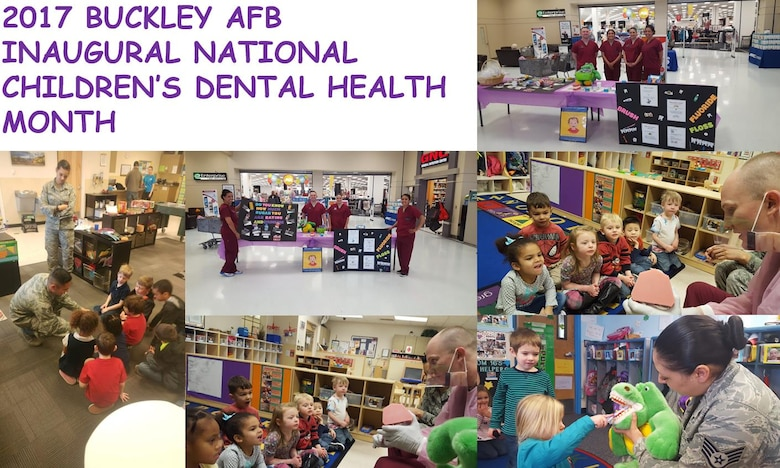 Members of the Buckley Dental Clinic helped spread hygiene awareness to children throughout the month of February on Buckley Air Force Base, Colo. These members visited the Child Development Centers and set up educational displays at the Base Exchange in support of National Children's Dental Health Month. (Courtesy photo illustration)