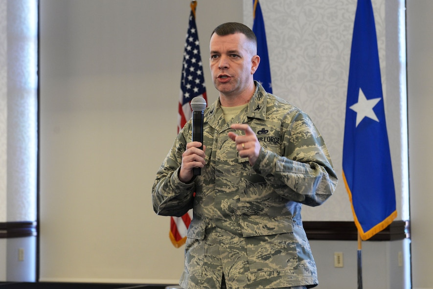 Col. David Sanford, 635th Supply Chain Operations Wing commander, answers questions during a logistics summit at Scott Air Force Base March 22.  The two-day summit brought around 200 logistics commanders and senior leaders from all over the world together to work on  better ways to improve current ways of operations. (U.S. Air Force photo by Tech. Sgt. Maria Castle)
