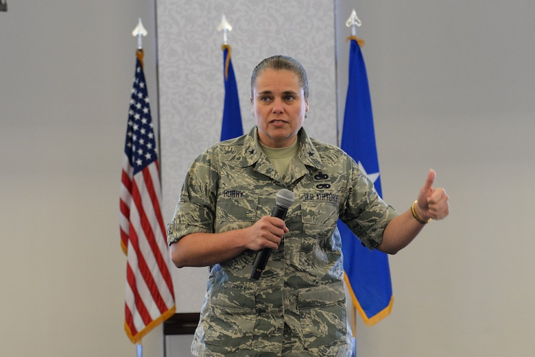 Brig. Gen. Linda Hurry, Air Force Installation and Mission Support Center Expeditionary Support director talks about the organization she works for and introduces her team during a logistics readiness summit at Scott Air Force Base March 22. Her and her team discussed readiness, field functional managers, support agreements and funding. (U.S. Air Force photo by Tech. Sgt. Maria Castle)