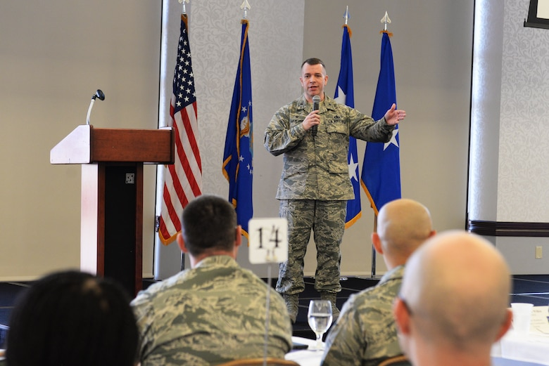 Col. David Sanford, 635th Supply Chain Operations Wing commander, talks about the SCOW organizational chart March 21 at the Scott Event Center.  He showed how to better utilize the logistics readiness agencies to be successful in executing their missions. The 635th SCOW hosted a 2-day logistics summit, which brought together logistics readiness leaders from different commands so they could learn from each other about how to better their procedures and processes.  (U.S. Air Force photo by Tech. Sgt. Maria Castle)