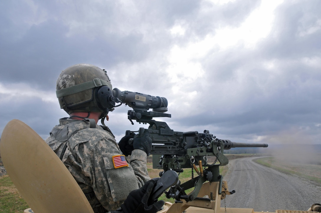 U.S. Army Reserve Spc. Dalton Phillips, 979th Mobility Augmentation Company, 478th Engineer Battalion, 926th Engineer Brigade, 412th Theater Engineer Command, based in Lexington, Ky., engages a target with his M2 .50 caliber machine gun during a Gunnery crew live-fire qualification at Wilcox Range on Fort Knox, Ky., March 28, 2017. This is the first time that this company has fired its M2s and M240B Machine Guns from M113 Armored Personnel Carriers.  This training ensures that Army Reserve units and Soldiers bring combat-ready and lethal firepower to worldwide operations. (U.S. Army Reserve Photo by Sgt. 1st Class Clinton Wood)