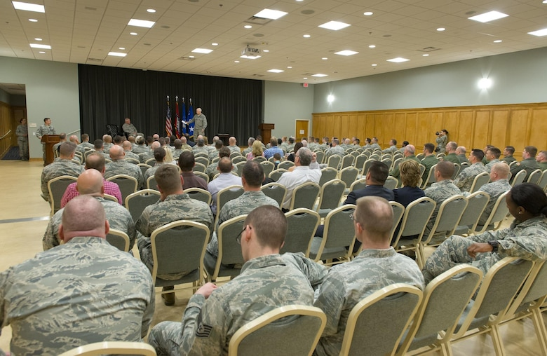 Lt. Gen. L. Scott Rice, director of the Air National Guard, delivers remarks during a graduation ceremony for the first class of the Air Force's Cyber Skills Validation Course held March 29, 2017, at Little Rock Air Force Base, Arkansas. The course is designed to take ANG Airmen with preexisting cyber skills and accelerate their training in the Cyber Warfare career field. (U.S. Air National Guard photo by Master Sgt. Marvin R. Preston)