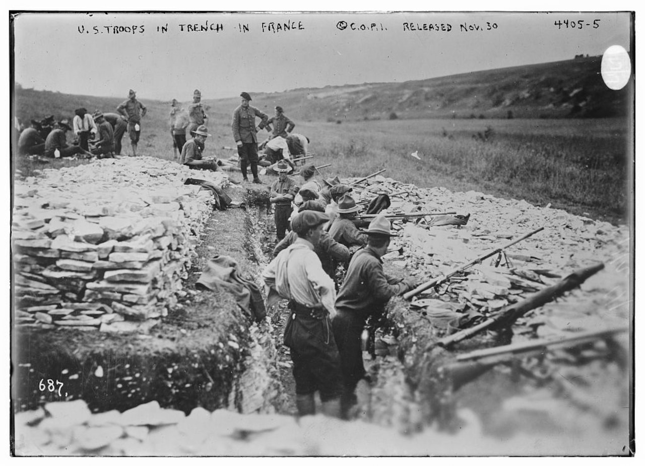 American troops conduct grenade gun training in France during World War I. Library of Congress photo