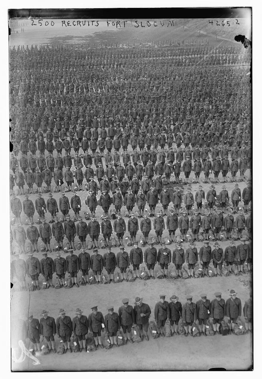Recruits line up at Fort Slocum, N.Y., in 1917. The fort was one of the busiest recruit training stations in the nation. Library of Congress photo