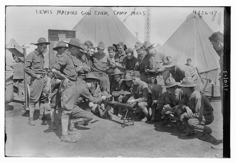 Soldiers conduct training with a Lewis machine gun at Camp Mills, N.Y., 1917. Library of Congress photo