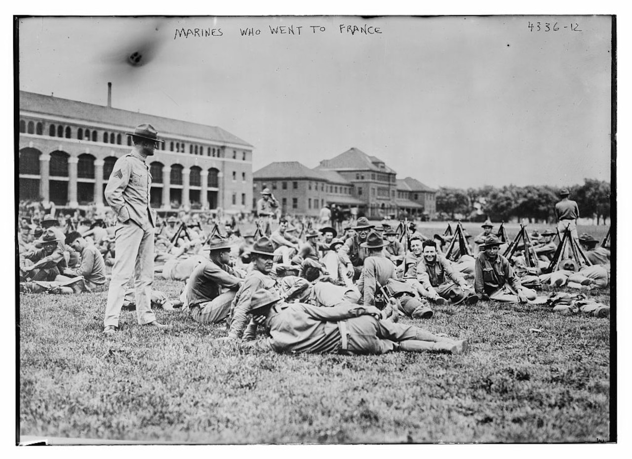 Marines take a break at the Philadelphia Marine Barracks before readying to board ships for France in 1917. Library of Congress photo