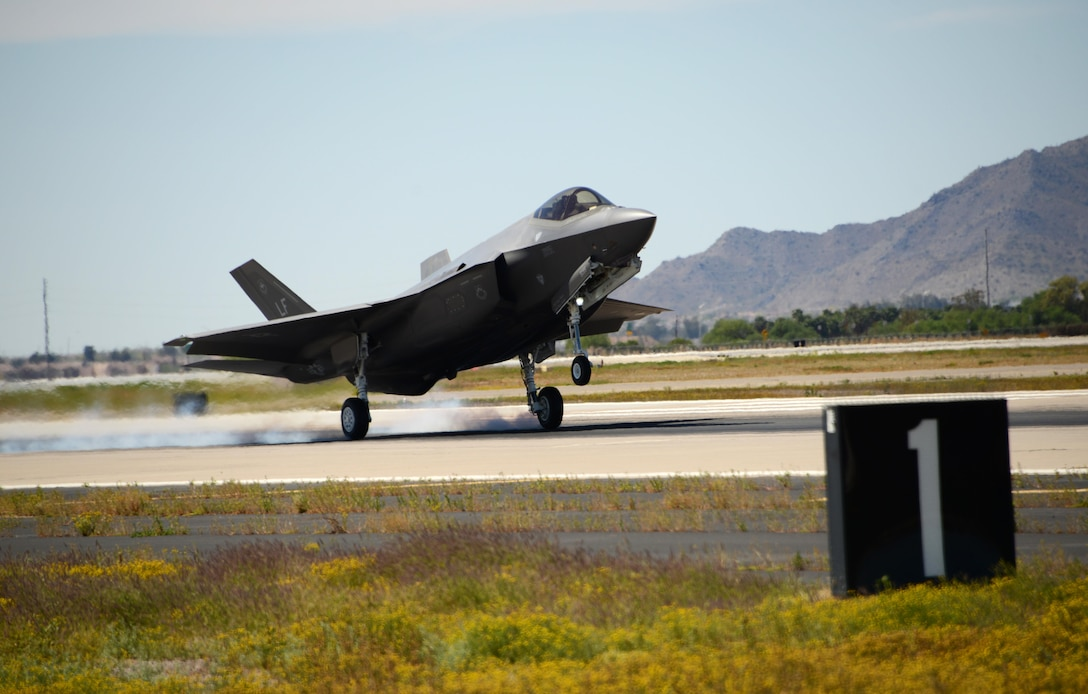 Lt. Col. Robert Miller, 62nd Fighter Squadron pilot, lands the 10,000th F-35 Lightning II training sortie at Luke Air Force Base, Ariz March 29, 2017. The 5,000th training sortie was flown in May 2015 marking more than 5,000 sorties flown in 10 months as Luke continues to build the future of air power. (U.S. Air Force photo by Airman 1st Class Alexander Cook)