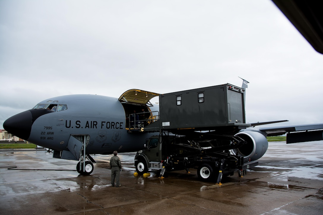 A specialized medical K loader prepares to offload patients from a KC-135 Stratotanker during Patriot Delta at Travis Air Force Base, Calif. on March 24, 2017. Patriot Delta brought in aeromedical evacuations squadrons from the from the 911th Airlift Wing at Pittsburgh Air Reserve Station, Penn., the 908th AW at Maxwell Air Force Base, Miss.; the 932d Airlift Wing at Scott AFB, Ill.; and the 349th Air Mobility Wing at Travis AFB. (U.S. Air Force photo by Staff Sgt. Daniel Phelps)