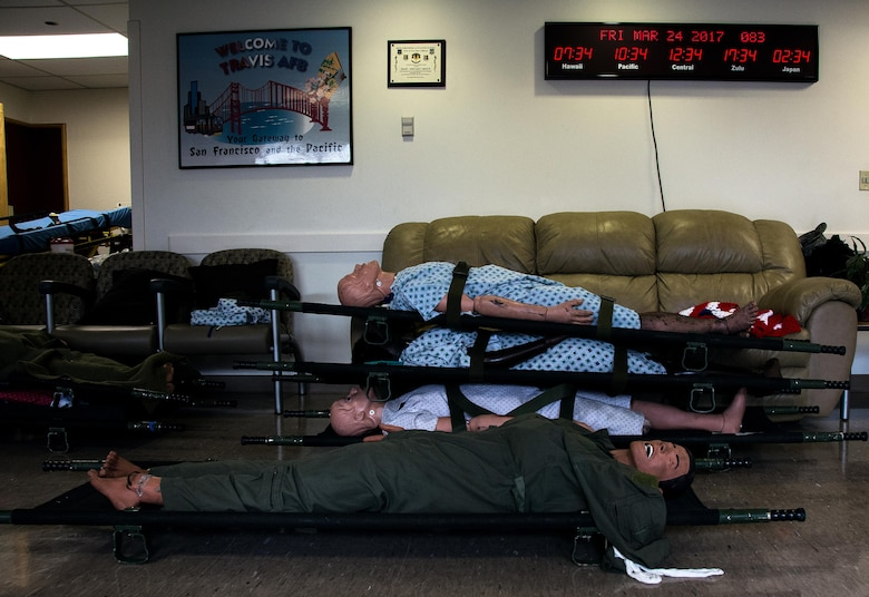 Medical manikins sit staged at David Grant U.S. Air Force Medical Center at Travis Air Force Base, Calif., on March 24, 2017. Members of the 60th Inpatient Squadron  participated in the Air Force Reserve exercise Patriot Delta, providing enroute patient care and staging the medical manikins. (U.S. Air Force photo by Staff Sgt. Daniel Phelps)