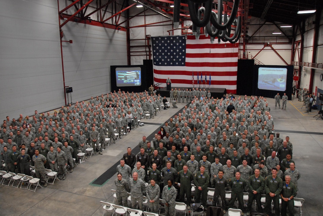Airmen and Soldiers of the Nevada Air and Army National Guard stop and pose for a photo with Gen. Joseph Lengyel at the first ever 152nd Airlift Wing Leadership Summit on March 3 at the Nevada Air National Guard Base in Reno.