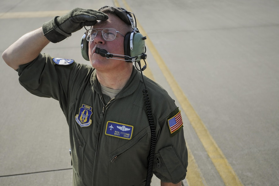 Master Sgt. Richard Titcomb, 339th Flight Test Squadron C-5 flight engineer, performs pre-flight checks to a C-5M Super Galaxy March 29, 2017, at Robins Air Force Base, Ga. The 339th is responsible for conducting flight tests on F-15s, C-130s and C-5s once programmed depot maintenance is completed. (U.S. Air Force photo by Jamal D. Sutter)