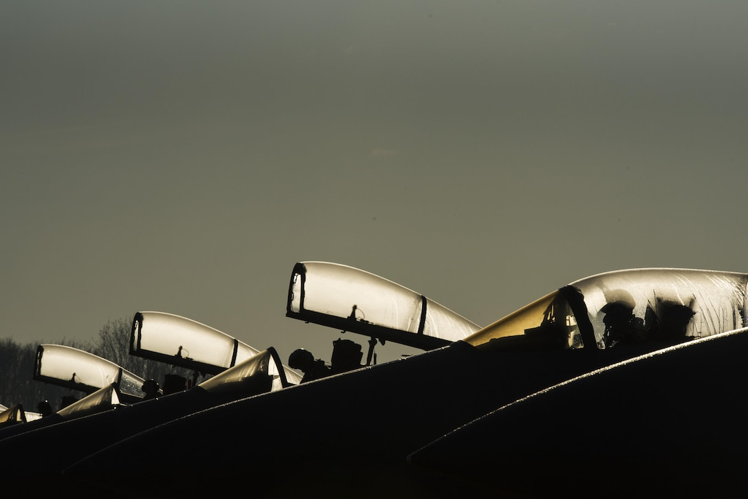 Pilots of the 122nd Expeditionary Fighter Squadron prepare to taxi an F-15C Eagle at Leeuwarden Air Base, Netherlands, March 28, 2017. The 122nd Expeditionary Fighter Squadron, comprised of Louisiana and Florida Air National Guard members,deployed to Europe to as a Theater Security Package and is particpating in the Netherlands led exercise Frisian Flag while in country. Thier training will include air defence missions, offensive missions, missions to protect other aircraft and missions carried out to eliminate static and dynamic targets on land or at sea. (U.S. Air Force photo by Staff Sgt. Jonathan Snyder)
