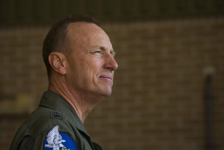 Maj. Gen. Jon K. Kelk, Air National Guard Assistant to the Commander, United States Air Forces in Europe Air Forces Africa, speaks with local media about the Theater Security Package at Leeuwarden Air Base, Netherlands, March 28, 2017. The 122nd Expeditionary Fighter Squadron, comprised of Louisiana and Florida Air National Guard aircraft and members, deployed to Europe to as part of the Theater Security Package and is particpating in the Netherlands led exercise Frisian Flag while in country. Thier training will include air defence missions, offensive missions, missions to protect other aircraft and missions carried out to eliminate static and dynamic targets on land or at sea. (U.S. Air Force photo by Staff Sgt. Jonathan Snyder)
