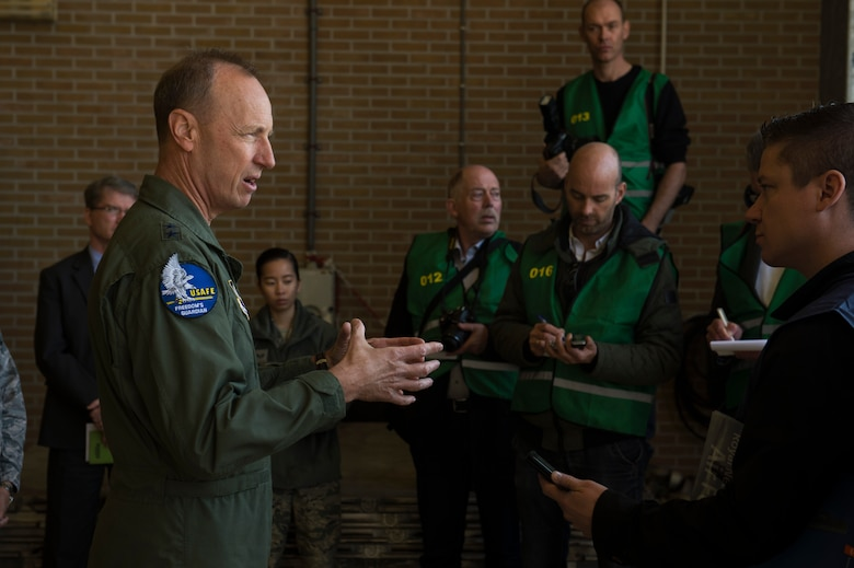Maj. Gen. Jon K. Kelk, Air National Guard Assistant to the Commander, United States Air Forces in Europe Air Forces Africa, speaks with local media about the Theater Security Package at Leeuwarden Air Base, Netherlands, March 28, 2017. The 122nd Expeditionary Fighter Squadron, comprised of Louisiana and Florida Air National Guard aircraft and members, deployed to Europe to as part of the Theater Security Package and is particpating in the Netherlands led exercise Frisian Flag while in country. These F-15s will conduct training alongside NATO allies to strengthen interoperability and to demonstrate U.S. commitment to the security and stability of Europe. (U.S. Air Force photo by Staff Sgt. Jonathan Snyder)