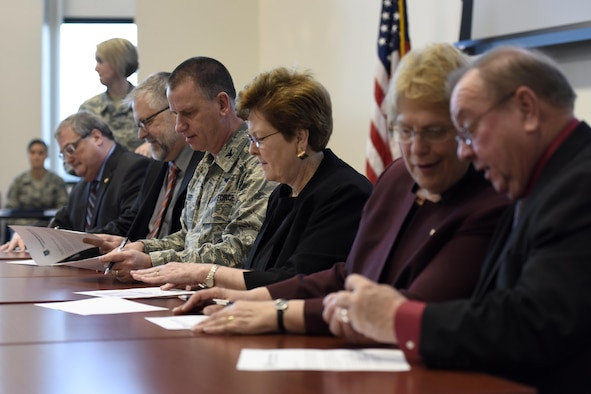 U.S. Air Force Col. Scott Reed, vice wing commander of the 180th Fighter Wing, Ohio Air National Guard, reviews the Higher Degree Attainment Initiative March 22, 2017 at the 180FW in Swanton, Ohio. The agreement between the 180FW and five local-are universities provides additional education opportunities for 180FW Airmen while providing participating colleges with recruitment opportunities. (U.S. Air National Guard photo by Staff Sgt. Shane Hughes)