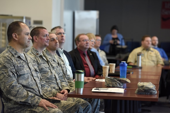 U.S. Air Force Airmen assigned to the 180th Fighter Wing, Ohio Air National Guard attend an Air Force Community Partnership meeting March 22, 2017 with local community leaders from five local-area universities and the Boy Scouts of America's Erie Shores council to sign partnership agreements. The AFCP program has inspired 61 installations nationwide to partner with their local communities across a wide range of initiatives, tapping into the intellectual capital and innovative spirit of Airmen and community leaders across the nation to develop creative ways to accomplish the U.S. Air Force mission and strengthen local communities. (U.S. Air National Guard photo by Staff Sgt. Shane Hughes)