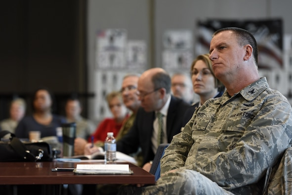 U.S. Air Force Col. Scott Reed, vice wing commander of the 180th Fighter Wing, Ohio Air National Guard, listens to a guest speaker during an Air Force Community Partnership agreement signing March 22, 2017, at the 180FW in Swanton, Ohio. The AFCP program has inspired 61 installations nationwide to partner with their local communities across a wide range of initiatives, tapping into the intellectual capital and innovative spirit of Airmen and community leaders across the nation to develop creative ways to accomplish the U.S. Air Force mission and strengthen local communities. (U.S. Air National Guard photo by Staff Sgt. Shane Hughes)