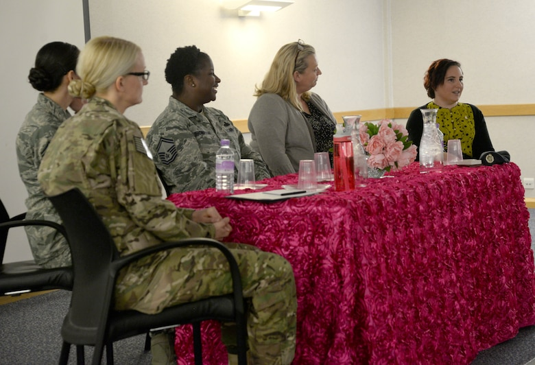 From left to right, Lt. Col. Seanna Less, 352nd Special Operations Aircraft Maintenance Squadron commander; Chief Master Sgt. Hope Skibitsky, 48th Medical Operations Squadron superintendent; Senior Master Sgt. Tara Thompson, 100th Logistics Readiness Squadron flight chief; Sue Winegardner, spouse of Chief Master Sgt. Richard Winegardner, 352nd Special Operations Wing commander; and Kara Neave, 100th Operation Support Squadron flight data analyst, speak at the Women's History Month speakers' panel March 24, 2017, on RAF Mildenhall, England. The open forum allowed the panel to speak on personal experiences distinguished by gender stereotypes or inequality and for attendees to ask questions. (U.S. Air Force photo by Senior Airman Justine Rho)