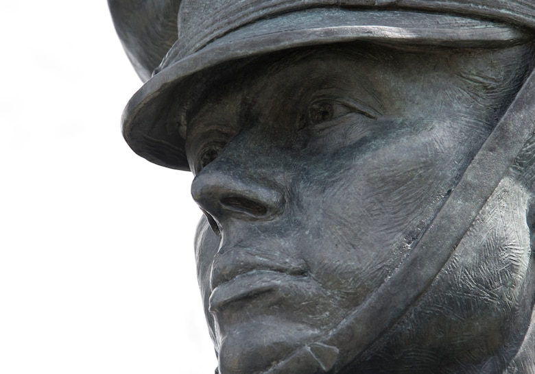 The face of a statue portraying an Airman of the U.S. Air Force Honor Guard at U.S. Air Force Memorial March 28, 2017 in Arlington, Va. The Memorial is the last military service memorial to be constructed in the National Capital Region. (U.S. Air Force photo by Staff Sgt. Joe Yanik)