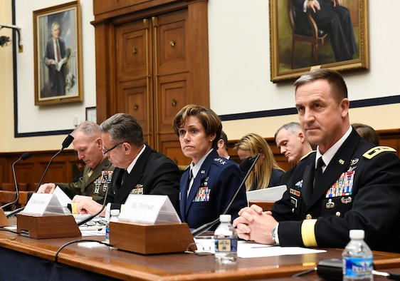 Lt. Gen. Gina Grosso, the Air Force deputy chief of staff for manpower, personnel and services, testifies before the House Armed Services subcommittee on Military Personnel about the nation's pilot shortage March 29, 2017, in Washington, D.C.  Grosso testified with Marine Corps Lt. Gen. Mark Brilakis, the deputy commandant for manpower and reserve affairs; Navy Vice Adm. Robert Burke, the chief of naval personnel; and Army Maj. Gen. Erik Peterson, the director of Army aviation.  (U.S. Air Force photo/Scott M. Ash)
