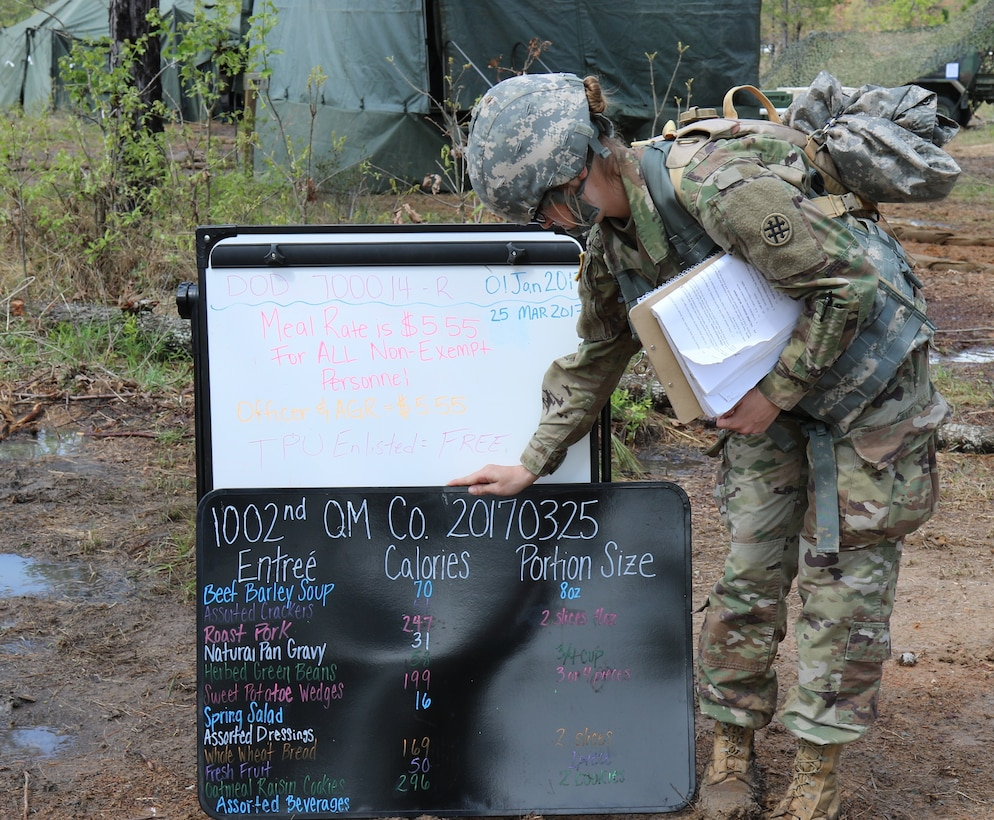 U.S. Army Reserve Pvt. 1st Class Kaitlin Waxler, a Field Sanitation Specialist with the 1002nd Quartermaster Company based in Beaumont, Texas, places a menu board during the unit's Philip A. Connelly Awards Program evaluation at Fort Polk, LA on Mar. 25, 2017.  During the Philip A. Connelly Program, the U.S. Army Reserve partners with the National Restaurant Association to give food service personnel an opportunity to demonstrate their capability and combat-readiness while competing for recognition. (U.S. Army Reserve photo by Maj. Brandon R. Mace)
