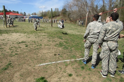 Junior Reserve Officer Training Corps high school students from across Virginia maneuver through events at the 17th Annual Raider Challenge hosted by Manchester High School in Midlothian, Virginia, on March 11, 2017. (Photo by Master Sgt. Stacey Everett, 80th Training Command Headquarters & Headquarters Command)