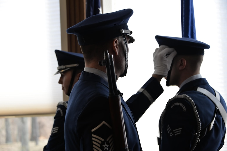 Master Sgt. John McMahon, 70th Intelligence, Surveillance and Reconnaissance Wing Base Honor Guard superintendent, overlooks a colors detail Airman before starting a retirement ceremony Feb. 24 at Fort George G. Meade. (U.S. Air Force photo/Staff Sgt. Alexandre Montes)
