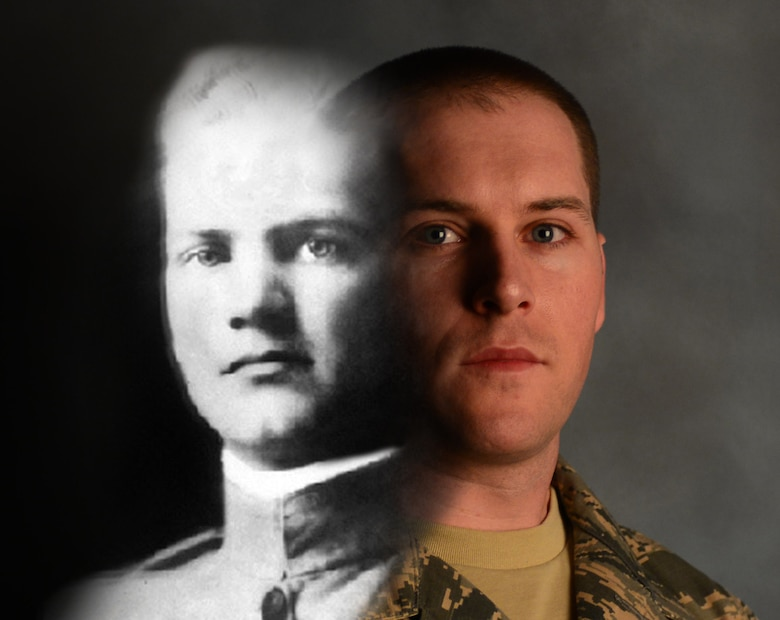 Tech Sgt. Corey Goodfellow, the noncommissioned officer in charge of the First Term Airmen Center, learned of his relationship to 1st Lt. John Goodfellow, the namesake of Goodfellow Air Force Base, Texas, once he had enlistment in the Air Force. Corey aspires to leave a legacy like his distant relative, John Goodfellow, and make his family proud. (U.S. Air Force photo illustration by Airman 1st Class Donald C. Knechtel)