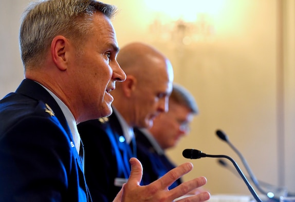 Lt. Gen. Mark Nowland, the Air Force deputy chief of Staff for Operations, right, testifies during the Senate Armed Services Subcommittee on Tactical Air and Land Forces and Air Force Modernization, March 29, 2017, in Washington, D.C.  Also testifying were Lt. Gen Arnold Bunch Jr., the military deputy for the Office of the Assistant Secretary of the Air Force and Lt. Gen Jerry Harris Jr., the Air Force deputy chief of staff for Strategic Plans, Programs and Requirements.  (U.S. Air Force photo/Scott M. Ash)