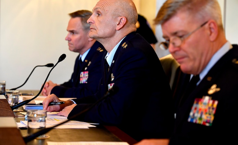 Lt. Gen. Arnold Bunch Jr., the military deputy for the Office of the Assistant Secretary of the Air Force, center, testifies before the Senate Armed Services Subcommittee on Tactical Air and Land Forces, and Air Force Modernization, March 29, 2017, in Washington, D.C.  Also testifying were, right, Lt. Gen. Jerry Harris Jr., the Air Force deputy chief of staff for Strategic Plans, Programs and Requirements, and Lt. Gen. Mark Nowland, the Air Force deputy chief of staff for Operations.  (U.S. Air Force photo/Scott M. Ash)