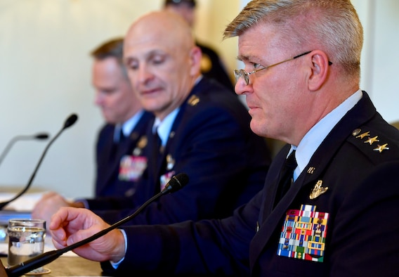 Lt. Gen. Jerry Harris Jr., right, the Air Force deputy chief of staff for Strategic Plans, Programs and Requirements; testifies during the Senate Armed Services Subcommittee on Tactical Air and Land Forces and Air Force Modernization, March 29, 2017, in Washington, D.C.  Also testifying were Lt. Gen Arnold Bunch Jr., center, the military deputy for the Office of the Assistant Secretary of the Air Force; and Lt. Gen. Mark Nowland, the Air Force deputy chief of Staff for Operations. (U.S. Air Force photo/Scott M. Ash)