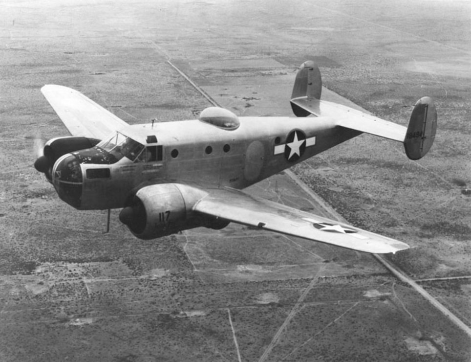 A Beechcraft AT-11 bombing training plane similar to the aircraft used at the former Deming Army Air Field, New Mexico.