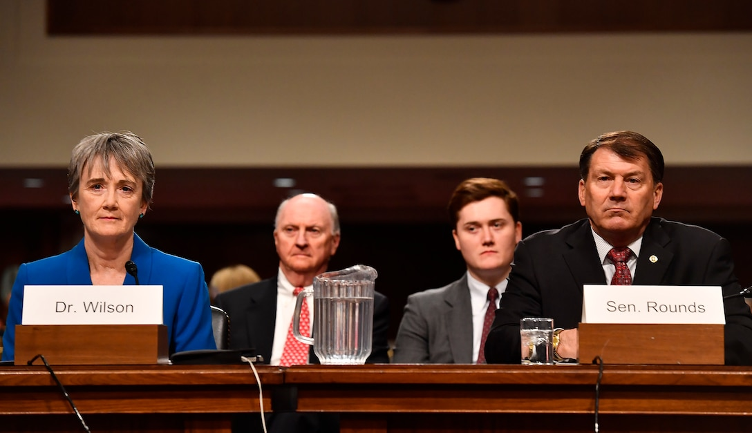 """Secretary of the Air Force nominee Heather Wilson testifies before the Senate Armed Services Committee, as a part of the confirmation process March 30, 2017, in Washington, D.C.  In her opening statement, Wilson said, """"We have the liberty to enjoy our blessings because thousands of America's best citizens volunteer to protect the rest of us.""""  (U.S. Air Force photo/Scott M. Ash)"""